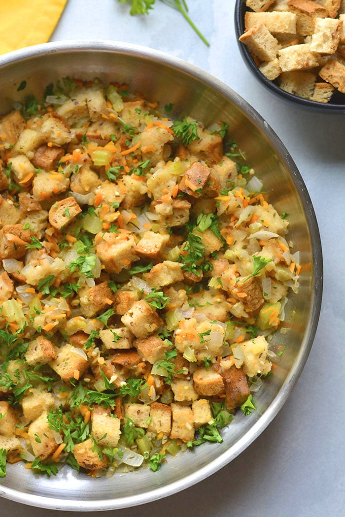 Healthy Stovetop Stuffing is made low calorie with more vegetables and gluten free bread. A delicious and healthier stuffing recipe! Gluten Free + Low Calorie + Vegan