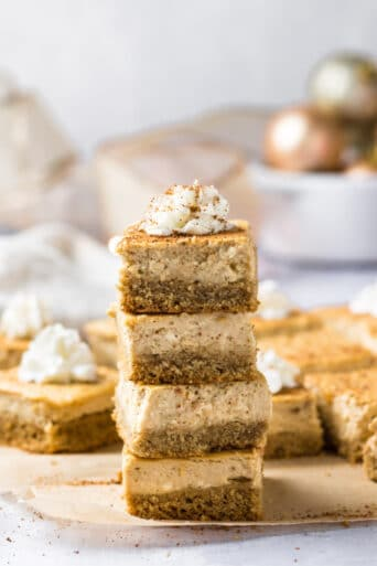 Healthy Eggnog Bars are made low calorie with gluten free and real food ingredients. A delicious and healthy holiday dessert recipe! Low Calorie + Gluten Free