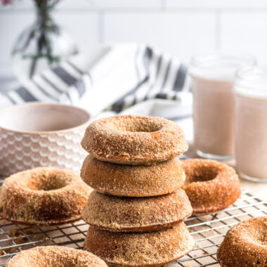 Healthy Gingerbread Donuts made lower calorie, gluten free and with wholesome, real ingredients. A lighter and healthier holiday treat dusted with a light maple sugar topping. Gluten Free + Low Calorie