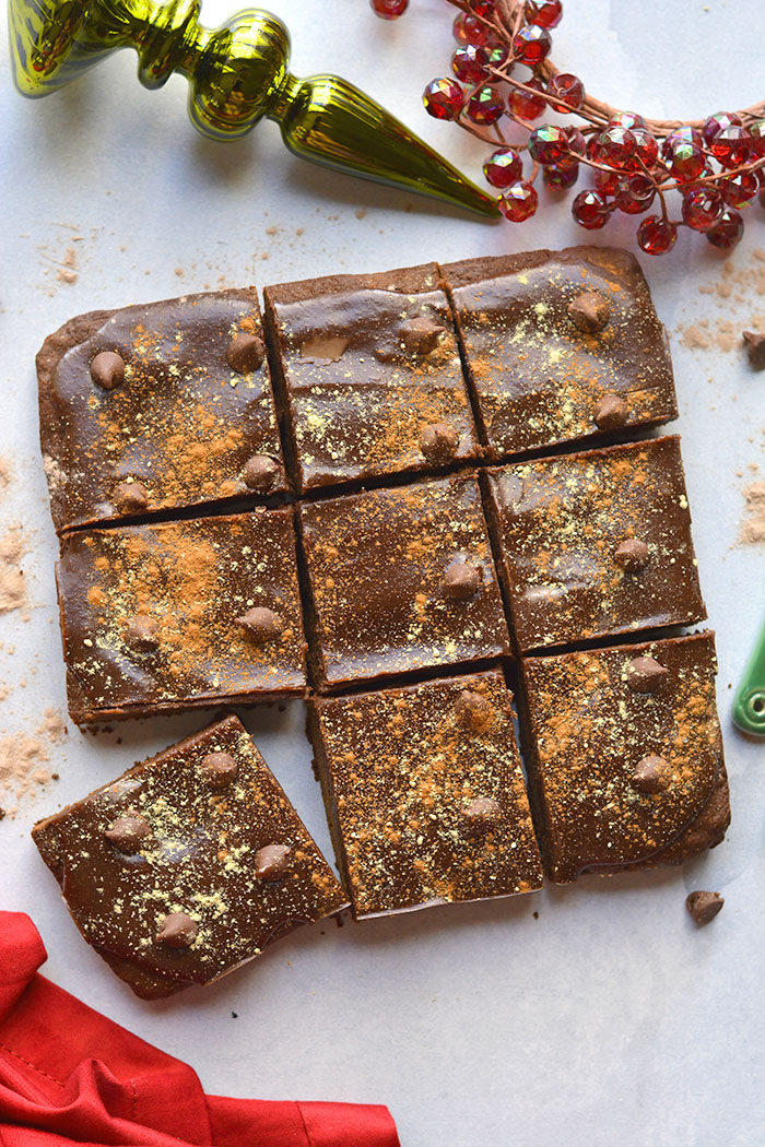 Healthy Gingerbread Protein Brownies are low calorie, made gluten and dairy free and made better for you balanced with protein! A healthy, low sugar dessert! Gluten Free + Low Calorie