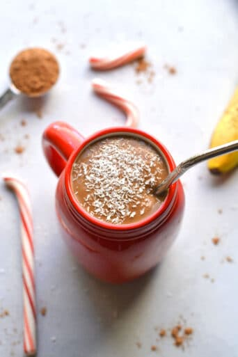 Healthy Hot Chocolate Smoothie is high protein protein, gluten free, dairy free and a great snack for weight loss and hormones. Low Calorie + Gluten Free + Vegan
