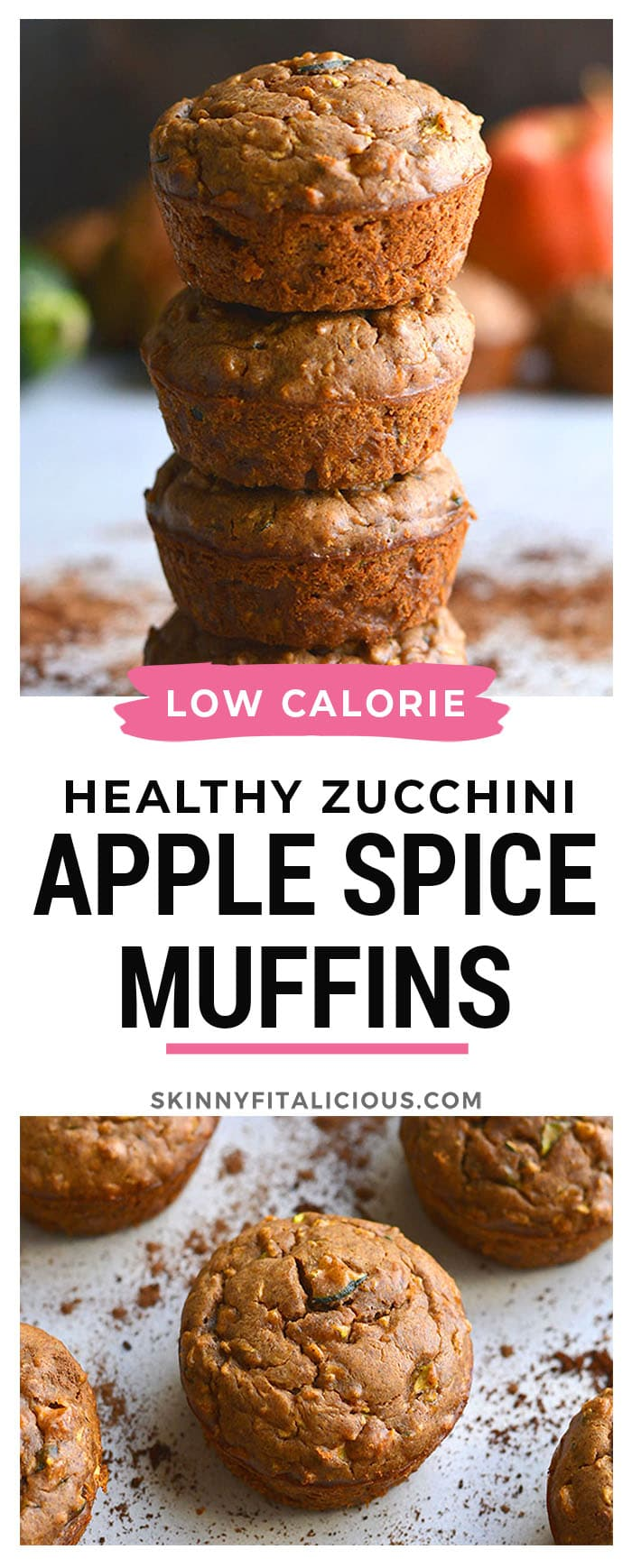 Healthy Zucchini Apple Spice Muffins are a low calorie muffin recipe made flourless with more protein and lower carbs. An easy snack recipe with warm spices!