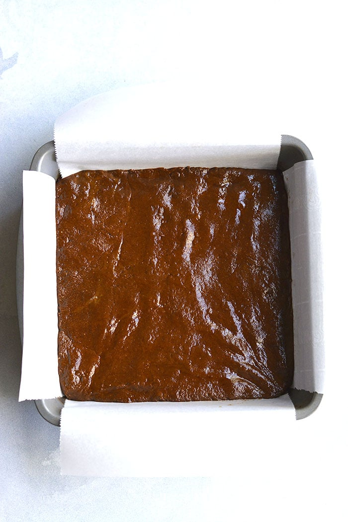 fudgy brownie in a baking pan