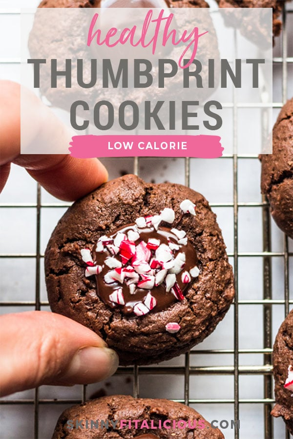 Healthy Chocolate Thumbprint Cookies made low calorie and gluten free are a delicious holiday cookie recipe with peppermint sprinkles on top!