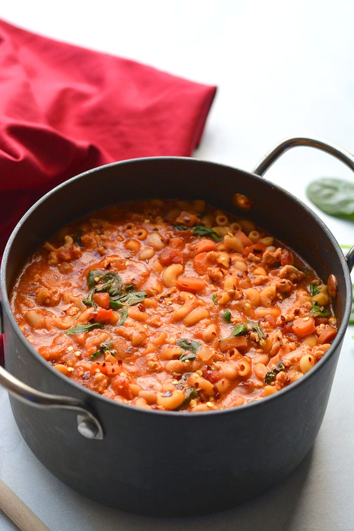 Healthy Pasta e Fagioli is a cozy, protein and fiber packed low-calorie pasta dinner recipe. Made on the stovetop for a simple, tasty and filling meal.