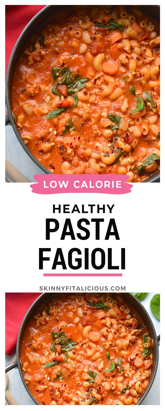Healthy Pasta Fagioli is a cozy, protein and fiber packed low calorie dinner recipe. Made with a few simple ingredients swaps to make it lower calorie and nutritionally balanced for a tasty and filling meal.