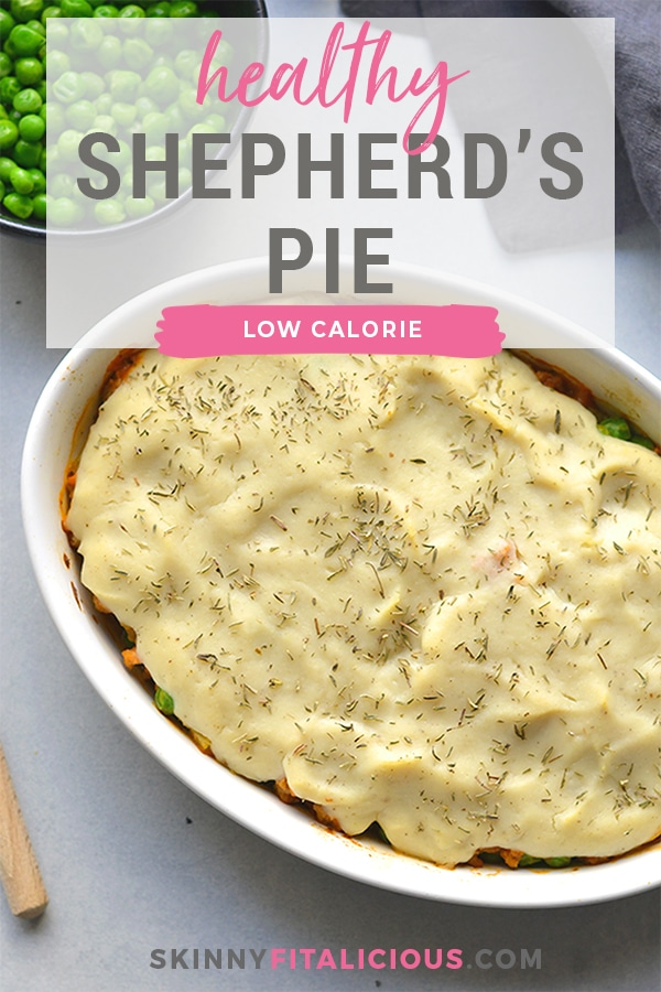 Healthy Shepherd's Pie is a low calorie recipe that's lower in carbs, high in protein and fiber. Made with a delicious roasted garlic cauliflower top and a lighter filling a for a filling and comforting winter meal. Low Calorie + Gluten Free