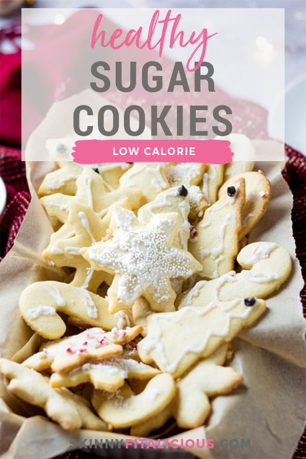 Healthy Sugar Cookies made low calorie, gluten free with an easy sugar free icing! A simple sugar cookie recipe that's lighter and healthy.