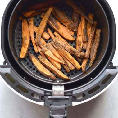 Healthy Air Fryer Sweet Potato Fries are a low calorie side made easy in an air fryer. Deliciously crispy and fried without the oil.