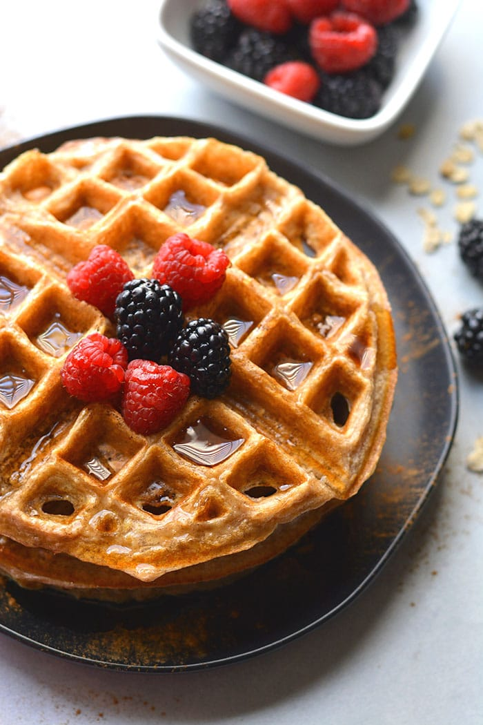 Healthy Cottage Cheese Pancakes are a high protein waffle recipe made with cottage cheese. A low calorie waffle recipe that's healthier, easy to make and meal prep for a healthier breakfast or snack.