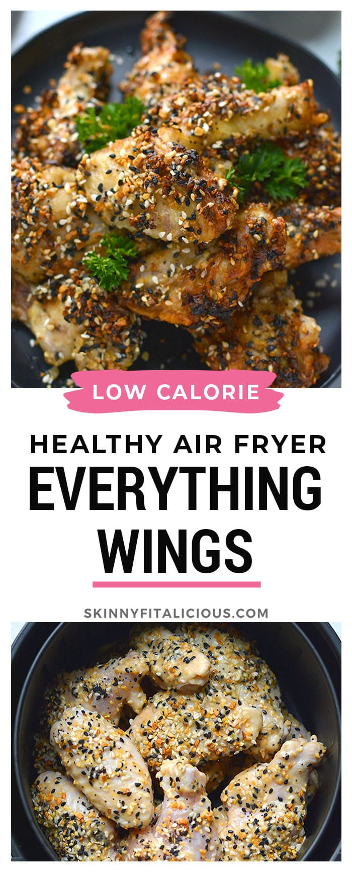 Healthy Air Fryer Everything Bagel Chicken Wings are un-breaded and air fried making them fewer calories than traditional fried wings and are gluten free.