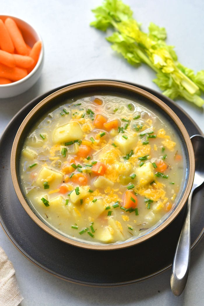 Healthy Potato Soup is a low calorie, dairy free soup recipe made in the Instant pot and includes slow cooker and stovetop versions. A delicious soup recipe that is veggie packed and simple.