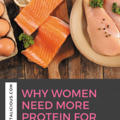 In this Dish on Ditching Diets podcast episode, learn why protein is a critical nutrient for women over 35 who have weight loss goals, how metabolism is affected by protein intake, how much protein women should eat and the best sources of protein.