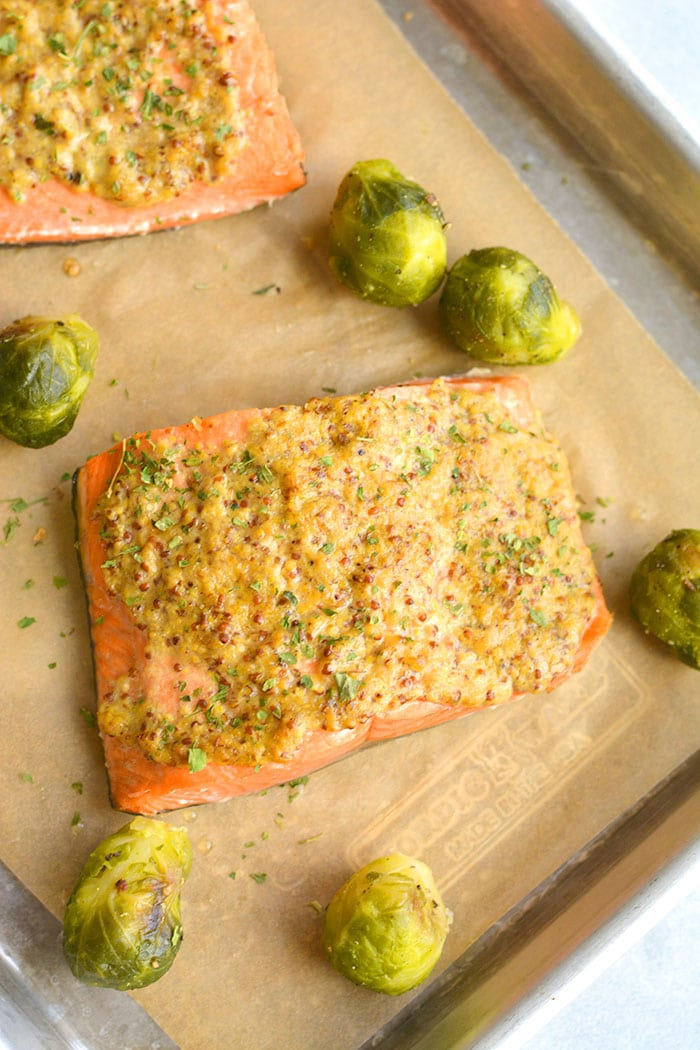Healthy Air Fryer Mustard Salmon is a delicious mustard-glazed salmon recipe. Pair with a vegetable and another side for a simple nutrient dense meal. A naturally low calorie, gluten free meal made in 10 minutes.