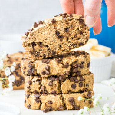 Healthy Chocolate Chip Banana Oat Bread made low calorie and lower sugar. A healthy gluten free banana bread made flourless with oats and dairy free. A lower calorie baked good that's better for you! Gluten Free + Low Calorie