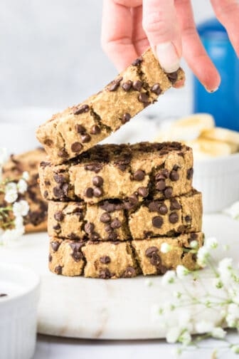 Healthy Chocolate Chip Banana Oat Bread made low calorie and lower sugar. A healthy gluten free banana bread made flourless with oats.