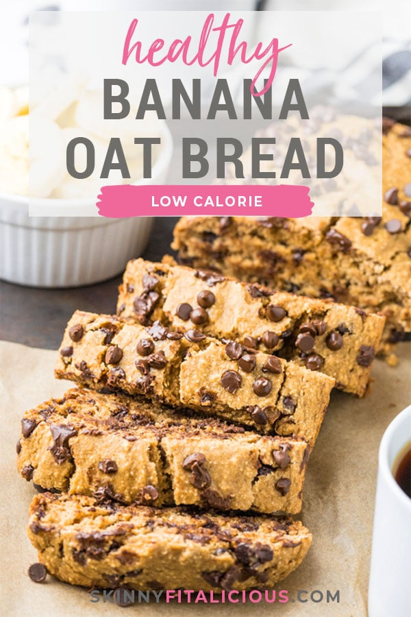 Healthy Chocolate Chip Banana Oat Bread made low calorie and lower sugar. A healthy gluten free banana bread made flourless with oats and dairy free. A lower calorie baked good that's better for you!