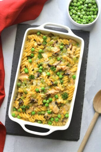 Healthy Tuna Noodle Casserole made with low calorie and dairy free with gluten free pasta for a healthy, high protein tuna casserole meal! Low Calorie + Gluten Free