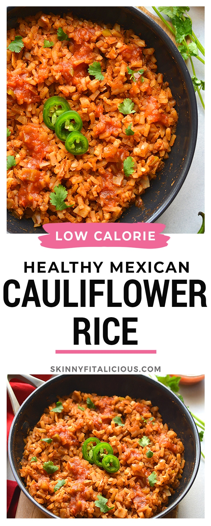 Healthy Mexican Cauliflower Rice is a low calorie, low carb dish made in one skillet with just a few ingredients. A healthy side dish recipe you can add to a meal, soups, salads and more!
