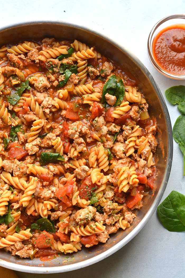 Healthy Monterrey Chicken Pasta is a protein packed pasta recipe made with a low calorie BBQ sauce, veggies and gluten free chickpea pasta.
