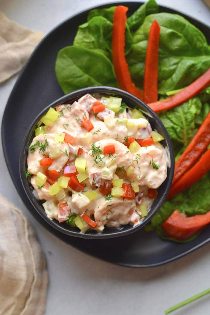 Healthy Greek Yogurt Shrimp Salad is a low calorie, low carb, high protein salad  bursting with delicious flavor. An easy lunch or dinner!