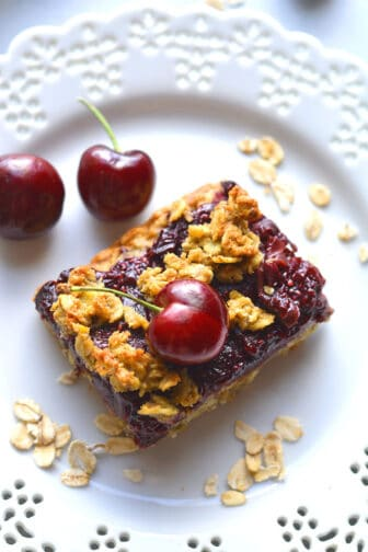 Healthy Cherry Oatmeal Bars are a low calorie, gluten free dessert recipe made low sugar with high fiber oats. A yummy, low calorie treat that's easy to make and dairy free!