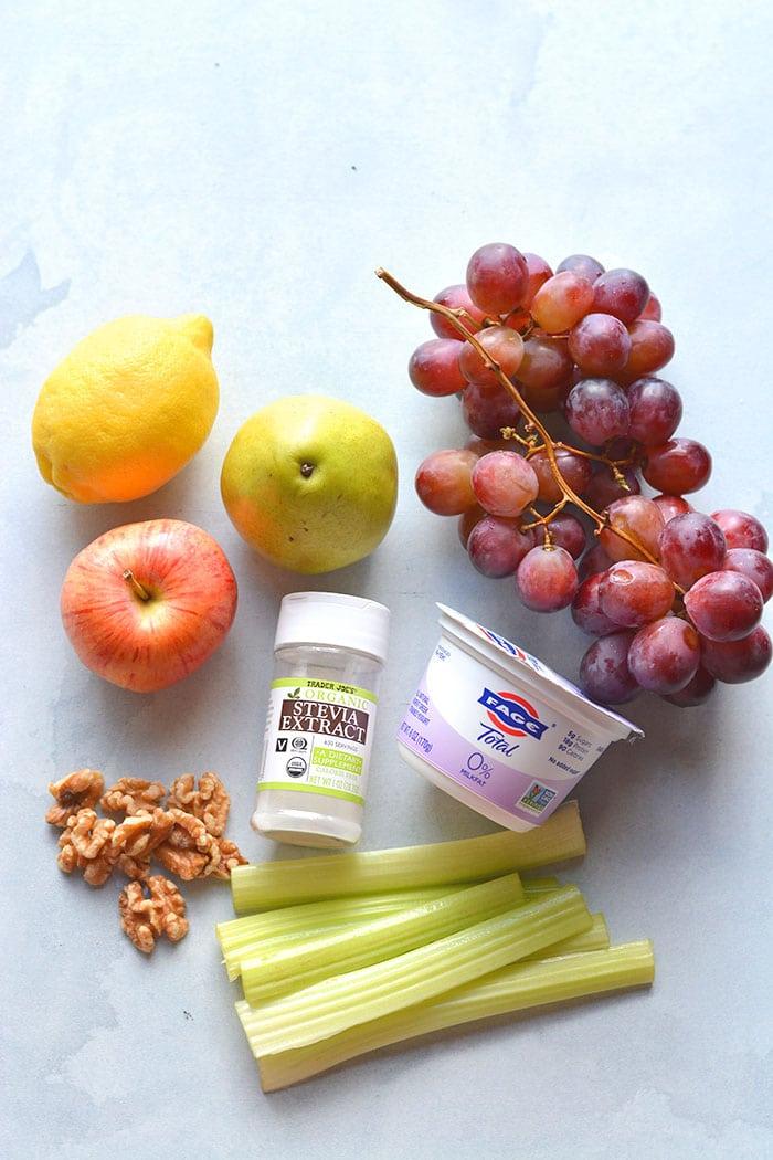 recipe ingredients to make a Waldorf salad