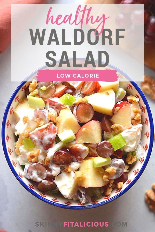 Healthy Waldorf Salad is made low calorie with a creamy, lemon Greek yogurt sauce with no added sugar and no mayo.  A healthy side dish or appetizer that's easy to make, naturally gluten free and delicious!