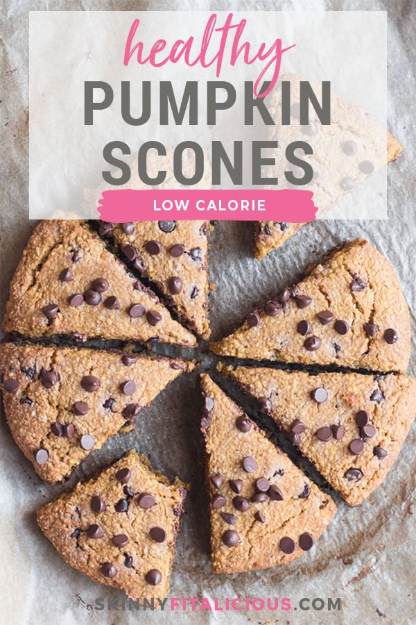 Healthy Pumpkin Scones made low calorie and gluten free with oat flour, minimal added sugar and chocolate chips.